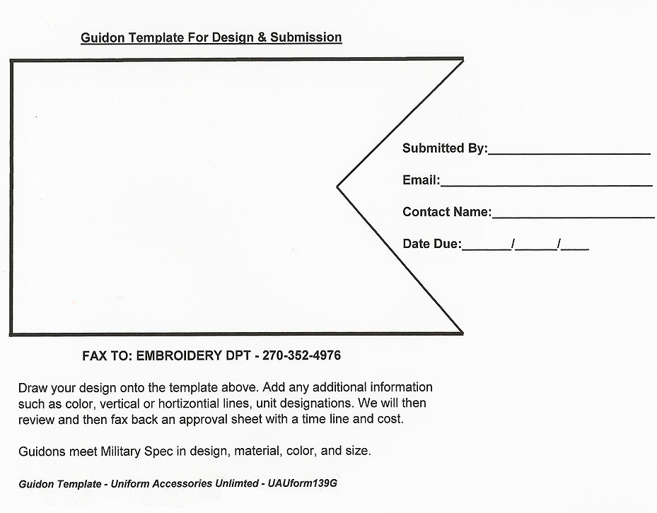 Template for guidon submission for Military coin design template